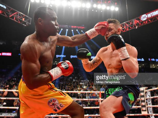 Adonis Stevenson lands a punch against Andrzej Fonfara during the WBC light heavyweight world championship match at the Bell Centre on June 3 2017 in...