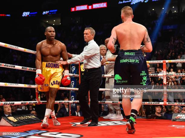 Adonis Stevenson looks towards Andrzej Fonfara during the WBC light heavyweight world championship match at the Bell Centre on June 3 2017 in...
