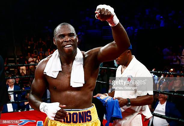 Adonis Stevenson of Canada celebrates after defeating Thomas Williams Jr of the US during their WBC light heavyweight championship fight at the...