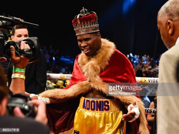 Adonis Stevenson poses after defeating Andrzej Fonfara during the WBC light heavyweight world championship match at the Bell Centre on June 3 2017 in...