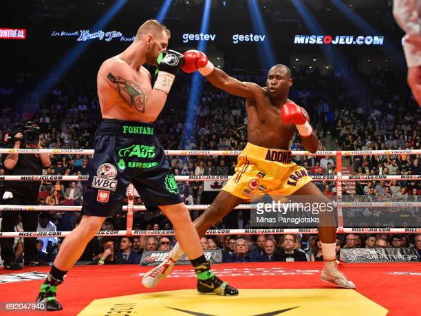 Adonis Stevenson throws a punch against Andrzej Fonfara during the WBC light heavyweight world championship match at the Bell Centre on June 3 2017...