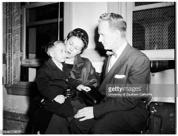 Adoption fight 18 March 1952 Mr and Mrs Edward Russell Aubrey Gene Russell 7 yearsMrs Genevieve Humphrey Mary Linda Russell 8 yearsLucille...