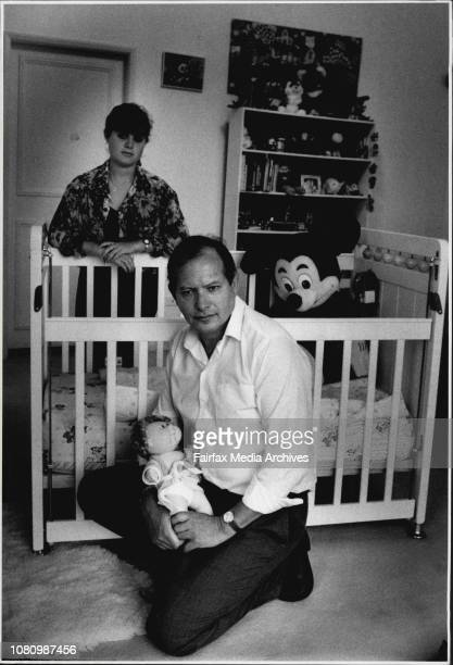 Adoption Mr Eli Fuchs with his 18 year old daughter Nicole pictured in the nursery room that awaits their adopted baby March 26 1991