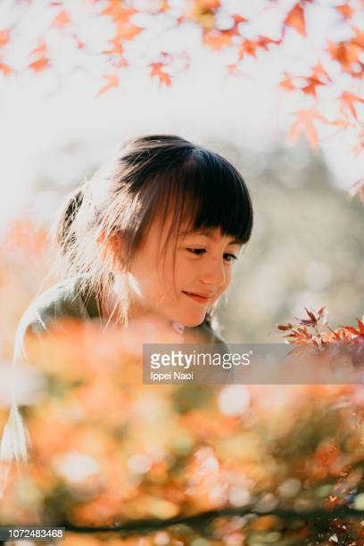 Adorable 4 year old Eurasian girl smiling at red Japanese maple leaves