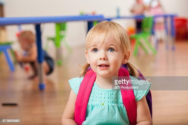 Adorable Caucasian in preschool class