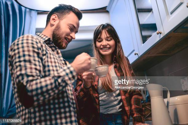 Adorable Couple In Love Drinking Coffee Together