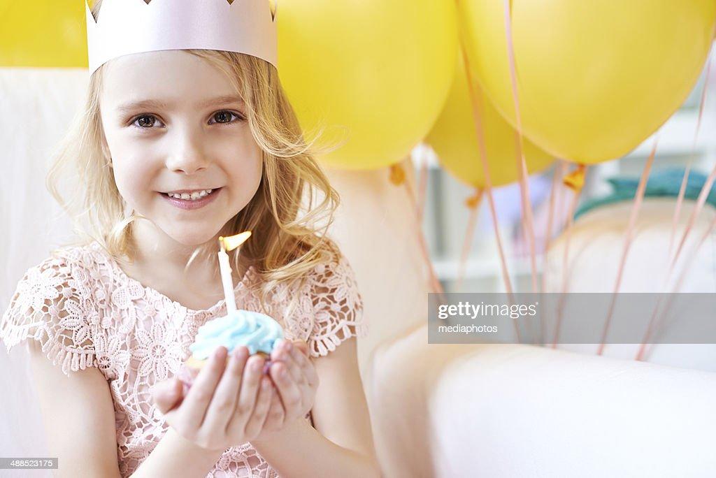 Adorable girl's birthday : Stock Photo