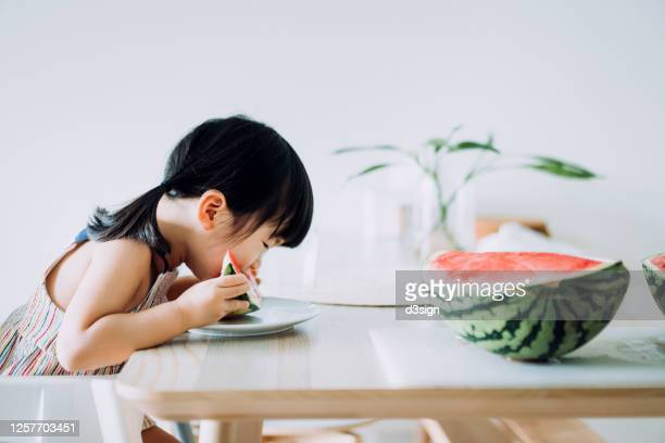 adorable little asian girl eating a slice of watermelon at home - シンプルな暮らし ストックフォトと画像