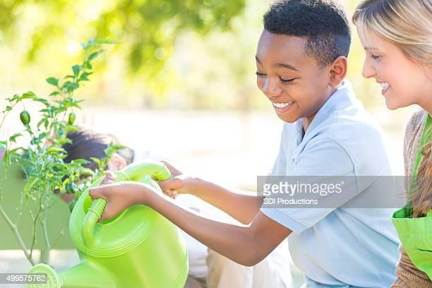 Adorable little boy watering plants in school garden