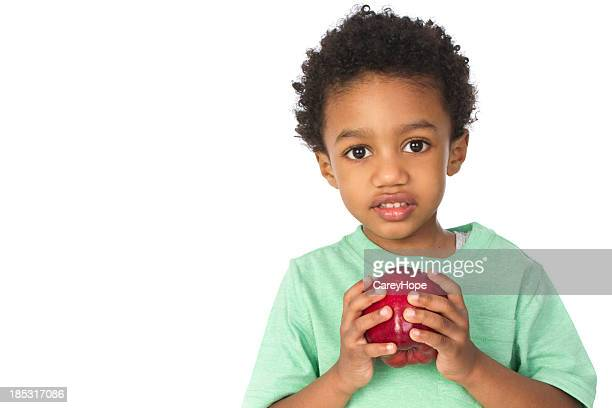 adorable little boy with apple