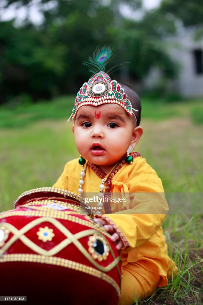 adorable little child dressed up as little krishna picture id1171282193