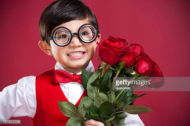 adorable little nerd boy with valentines roses, copy space - dozen stock pictures, royalty-free photos & images