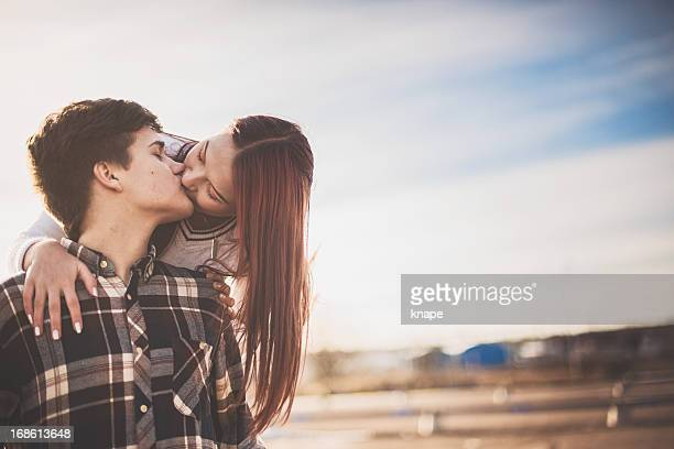 adorable teenagers in love - teenage couple stock photos and pictures