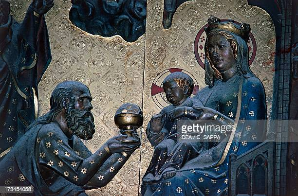 Adoration of the Magi basrelief on the choir with Stories from the Life of Christ by Jean Ravy NotreDame Cathedral Paris IledeFrance France Detail