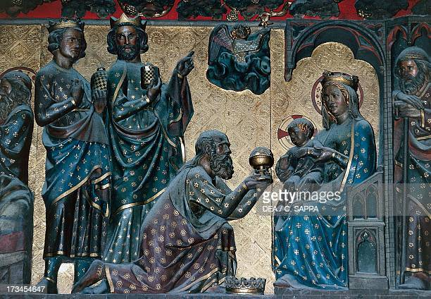 Adoration of the Magi basrelief on the choir with Stories from the Life of Christ by Jean Ravy NotreDame Cathedral Paris IledeFrance France