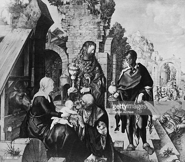 'Adoration Of The Magi' by Albrecht Durer 1504 The three kings surround the infant Jesus and his mother the Virgin Mary bearing gifts of gold...