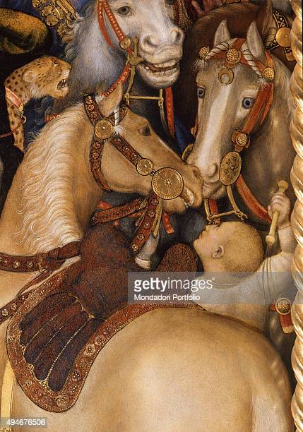 Adoration of the Magi by Gentile da Fabriano 15th Century tempera on panel 303 x 282 cm Italy Tuscany Florence Uffizi Gallery Detail The scene is...