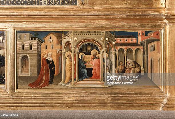 Adoration of the Magi by Gentile da Fabriano 15th Century tempera on panel 303 x 282 cm Italy Tuscany Florence Uffizi Gallery Detail Particular of...