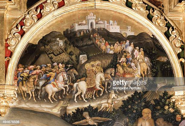 Adoration of the Magi by Gentile da Fabriano 15th Century tempera on panel 303 x 282 cm Italy Tuscany Florence Uffizi Gallery Detail Central lunette...
