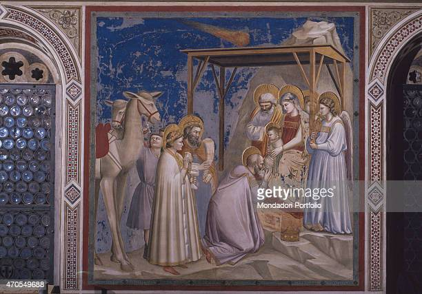 'Adoration of the Magi by Giotto 13031305 14th Century fresco Italy Veneto Padua Scrovegni Chapel After restoration picture Whole artwork view In the...