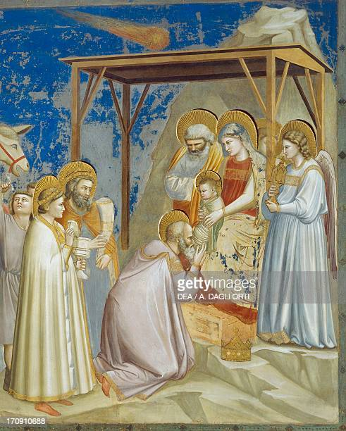 Adoration of the Magi by Giotto detail from the cycle of frescoes Life and Passion of Christ 13031305 after the restoration in 2002 Scrovegni Chapel...