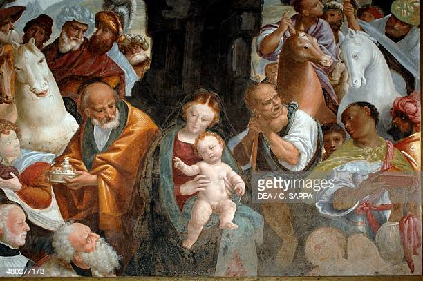 Adoration of the Magi detail from the Cycle of the Virgin fresco by Bernardino Lanino lower sacristy in Novara Cathedral Piedmont Italy