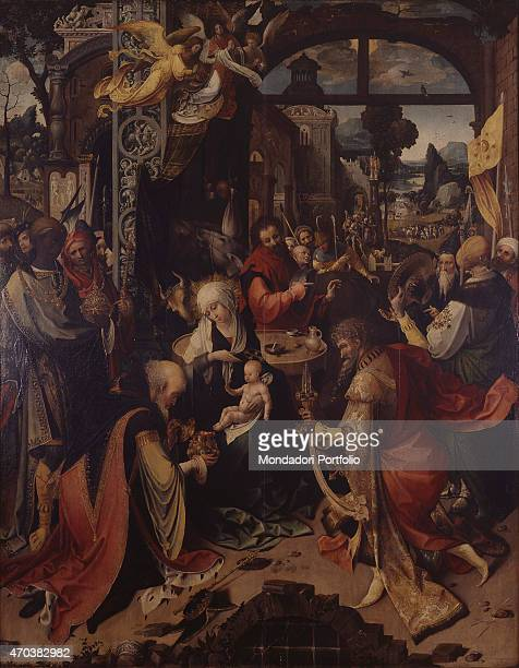 Adoration of the Magi Nativity Rest on the Flight into Egypt by Jan de Beer 16th century oil on wood walnut Italy Lombardy Milan Brera Collection...
