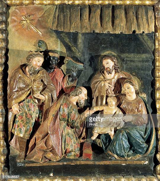 Adoration of the Magi Polychromed wood relief Catalan School Private collection