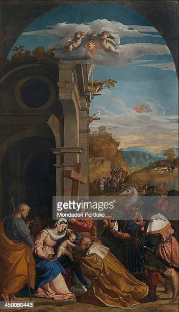 Adoration of the Magi with Saint Helena by Jacopo Negretti known as Palma il Vecchio 1525 1526 16th Century oil on canvas