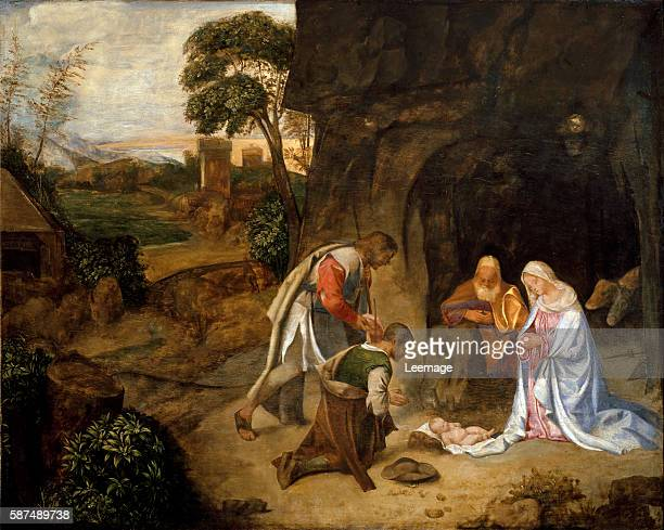 Adoration of the Shepherds by School of Giorgione 91x115 cm Vienna Kunsthistorisches Museum