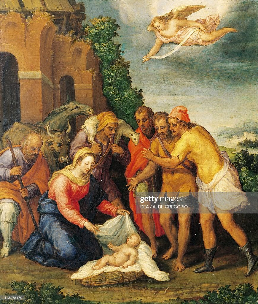 Adoration of the Shepherds, ca 1565, by Sebastiano Filippi (1532-ca 1602), oil on panel, 53x46 cm. (Photo by DeAgostini/Getty Images) : News Photo