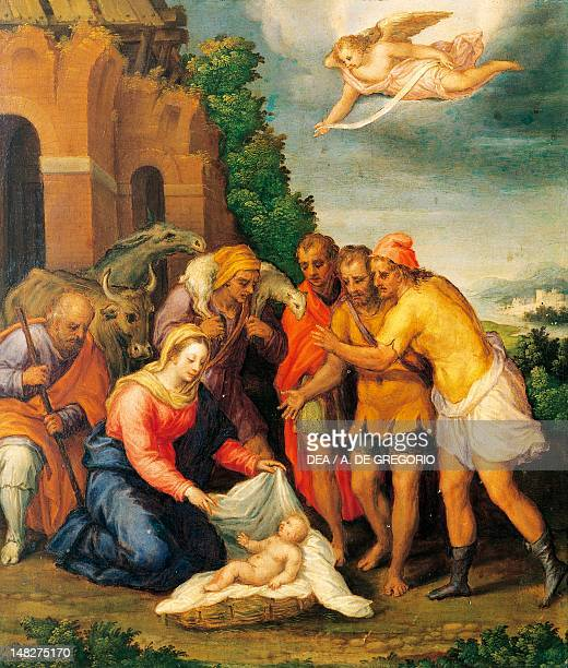 Adoration of the Shepherds ca 1565 by Sebastiano Filippi oil on panel 53x46 cm Ferrara Pinacoteca Nazionale