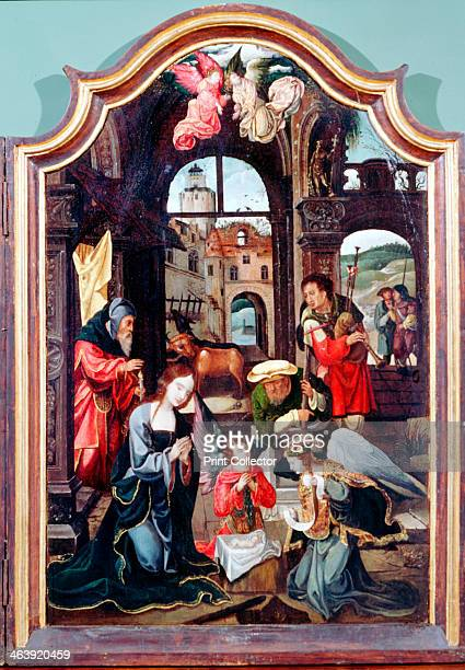 'Adoration of the Shepherds' triptych late 15thearly 16th century Central panel showing the Adoration in the stable with Mary Joseph the infant Jesus...