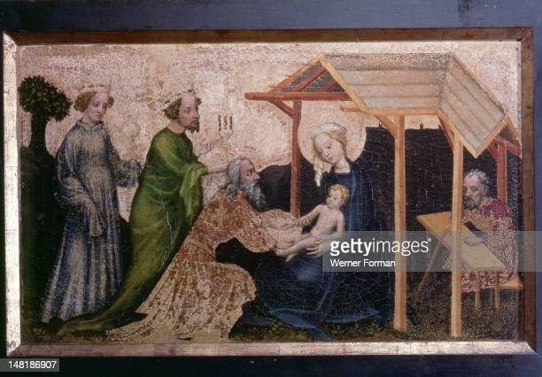 Adoration of the three kings attributed to the 'Master of the Mondsichel Madonna' 1420 Austria