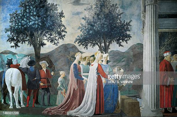 Adoration of the wood and the meeting of the Queen of Sheba and King Solomon, detail from the Legend of the True Cross, 1452-1466, by Piero della...