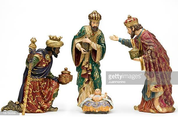 adoration (nativity scene) - three wise men stock photos and pictures
