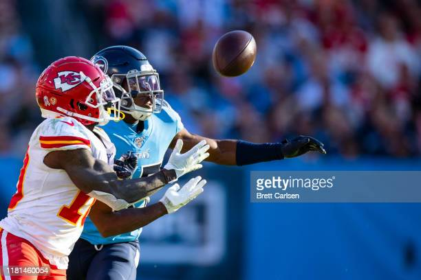 Adoree' Jackson of the Tennessee Titans breaks up a pass intended for Tyreek Hill of the Kansas City Chiefs during the fourth quarter at Nissan...