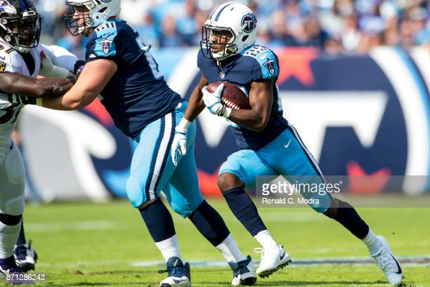Adoree' Jackson of the Tennessee Titans carries the ball during a NFL game against the Baltimore Ravens at Nissan Stadium on November 5 2017 in...