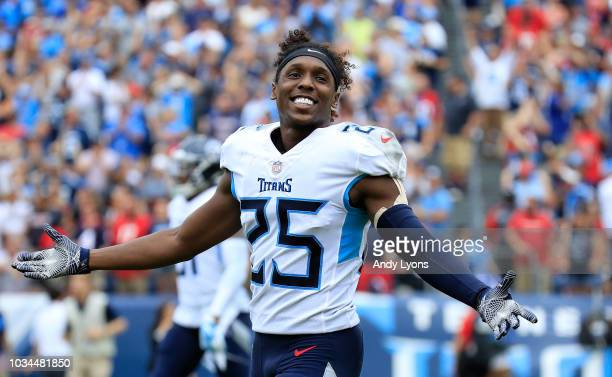 Adoree' Jackson of the Tennessee Titans celebrates after a win over the Houston Texans at Nissan Stadium on September 16, 2018 in Nashville,...