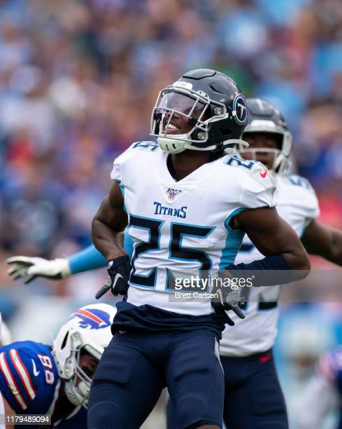 Adoree' Jackson of the Tennessee Titans celebrates breaking up a pass during the second quarter against the Buffalo Bills at Nissan Stadium on...