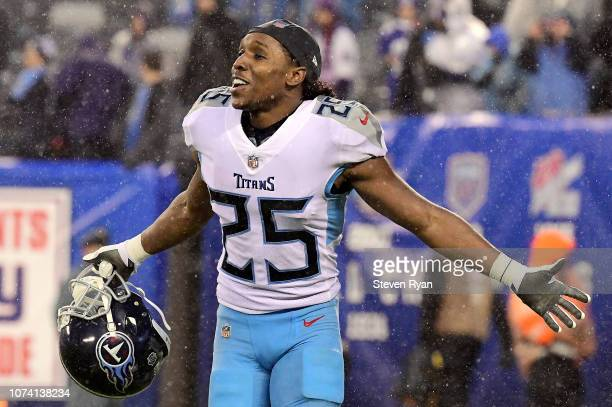 Adoree' Jackson of the Tennessee Titans celebrates his teams lead in the final minutes of the game against the New York Giants at MetLife Stadium on...