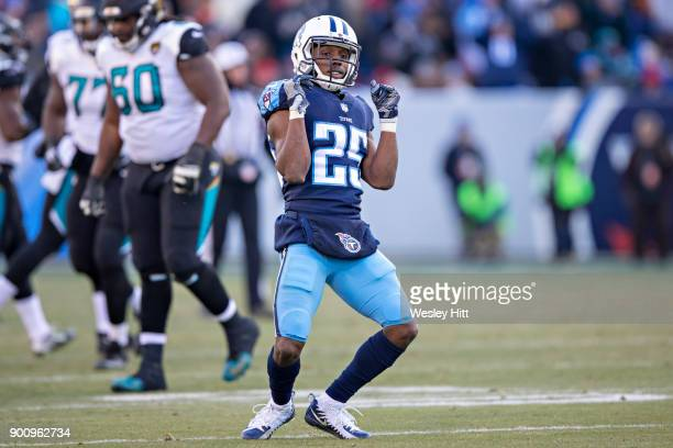 Adoree' Jackson of the Tennessee Titans dances after a big play during a game against the Jacksonville Jaguars at Nissan Stadium on December 31 2017...