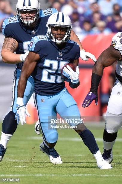 Adoree' Jackson of the Tennessee Titans plays against the Baltimore Ravens at Nissan Stadium on November 5 2017 in Nashville Tennessee
