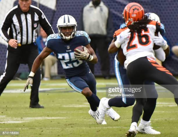 Adoree' Jackson of the Tennessee Titans plays against the Cincinnatti Bengals at Nissan Stadium on November 12 2017 in Nashville Tennessee