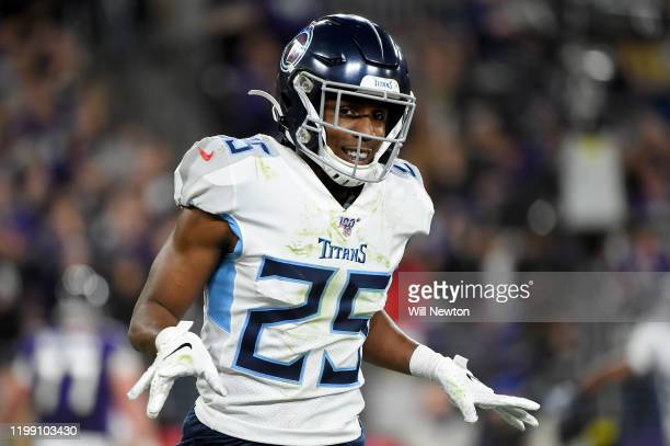 Adoree' Jackson of the Tennessee Titans reacts after a play against the Baltimore Ravens during the AFC Divisional Playoff game at M&T Bank Stadium...