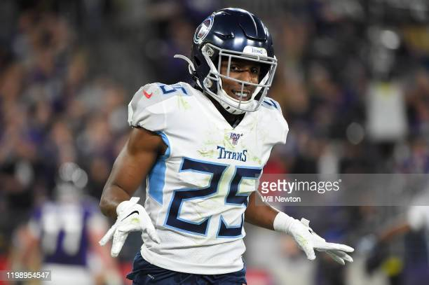 Adoree' Jackson of the Tennessee Titans reacts to a play during the AFC Divisional Playoff game against the Baltimore Ravens at M&T Bank Stadium on...