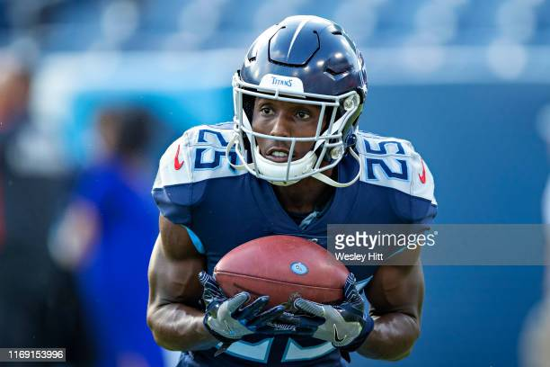 Adoree Jackson of the Tennessee Titans warms up before a game against the New England Patriots during week two of the preseason at Nissan Stadium on...
