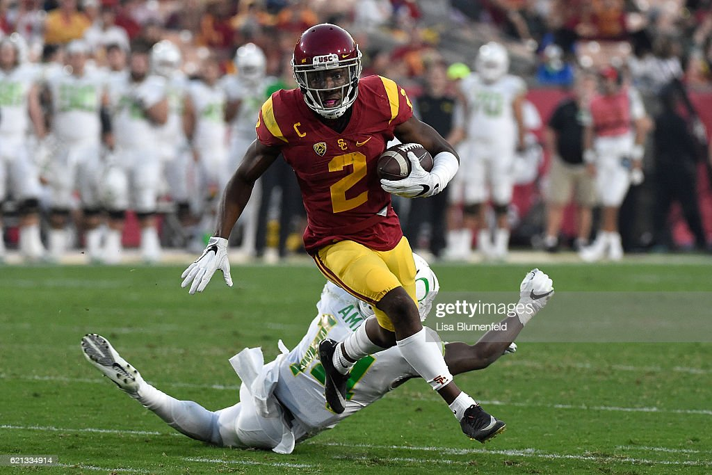 Adoree' Jackson #2 of the USC Trojans carries the ball in the second quarter against the Oregon Ducks at Los Angeles Memorial Coliseum on November 5, 2016 in Los Angeles, California.