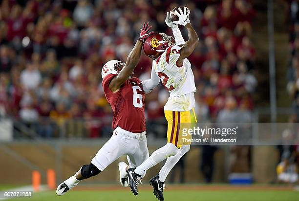 Adoree' Jackson of the USC Trojans intercepts a pass intended for Francis Owusu of the Stanford Cardinal during the second half of their NCAA...