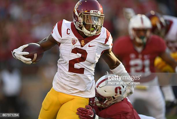 Adoree' Jackson of the USC Trojans returns a kickoff against the Stanford Cardinal during the first half of their NCAA football game at Stanford...